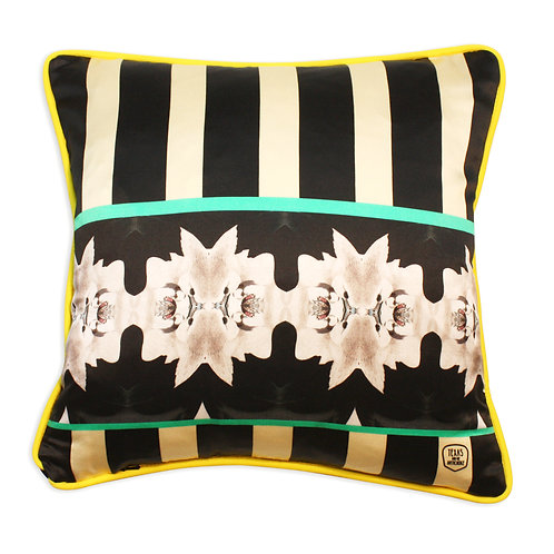 Bunnies green silk and velvet cushion