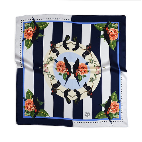 TROPICAL RAINFOREST NAVY SILK SCARF from
