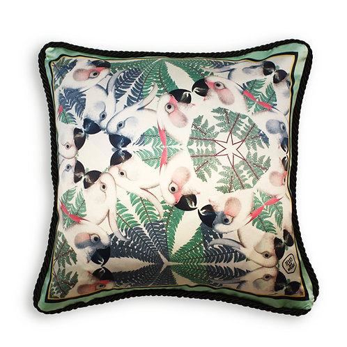 Parrots aquamarine silk and velvet cushion