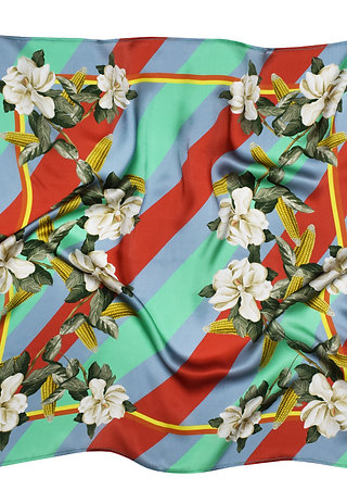 MAGNOLIA & CORN RED SILK SCARF from