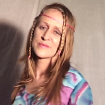 Hippy hippie headband pink and blue lipstick long hair lady