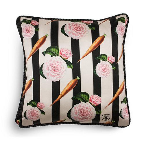 Carrots and roses silk and velvet cushion