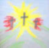 3 crosses with Jesus shining brightly
