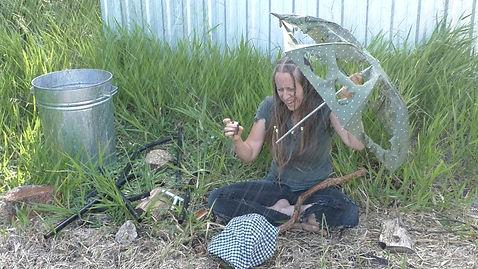 Christian singer Ohroara with a broken umbrella