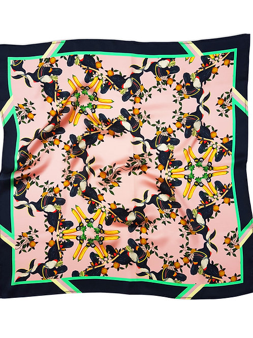 Burmese toucan blush silk scarf front view