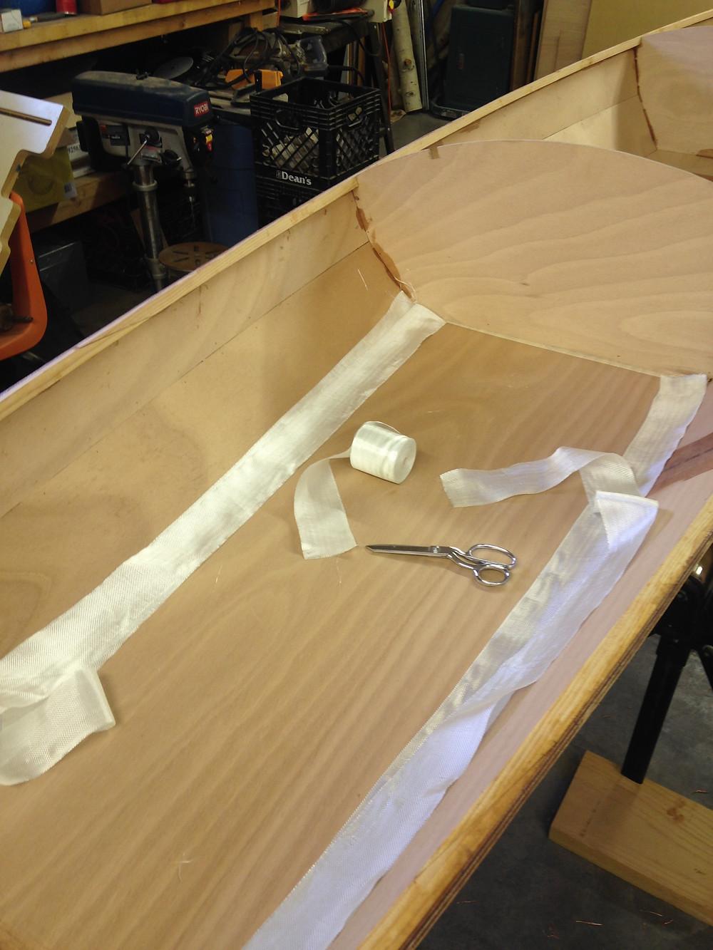 Inside of hull before epoxy filets and fiberglass