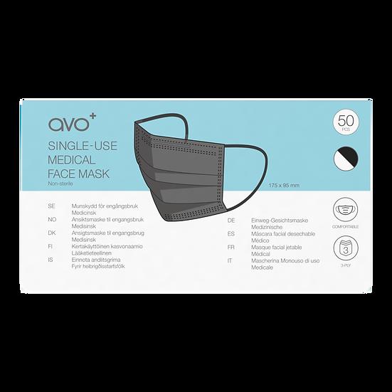 AVO+ Disposable Face Mask Box 50pk - Black