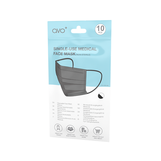 AVO+ Disposable Medical Face Mask 10pk - Black