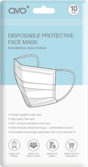 AVO+ Disposable Face Mask 10pk