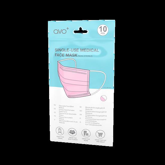 AVO+ Single Use Medical Face Mask 10pack Pink