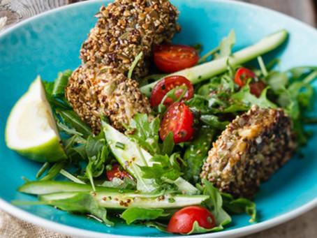 Seed Crusted Feta Cheese Salad