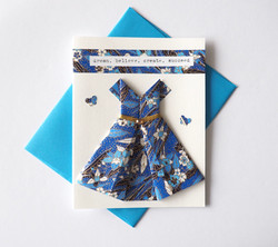 A2 Origami dress card - Blues