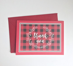 Buffalo plaid thank you cards