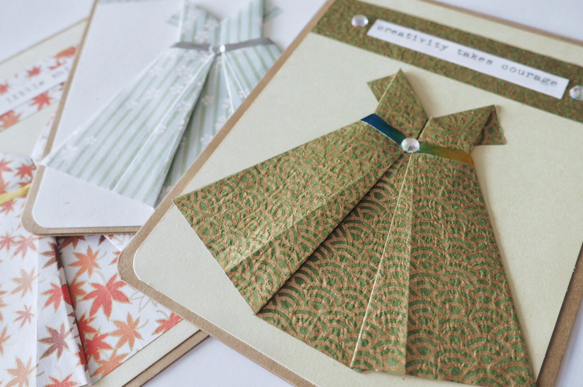 A2 Origami dress cards