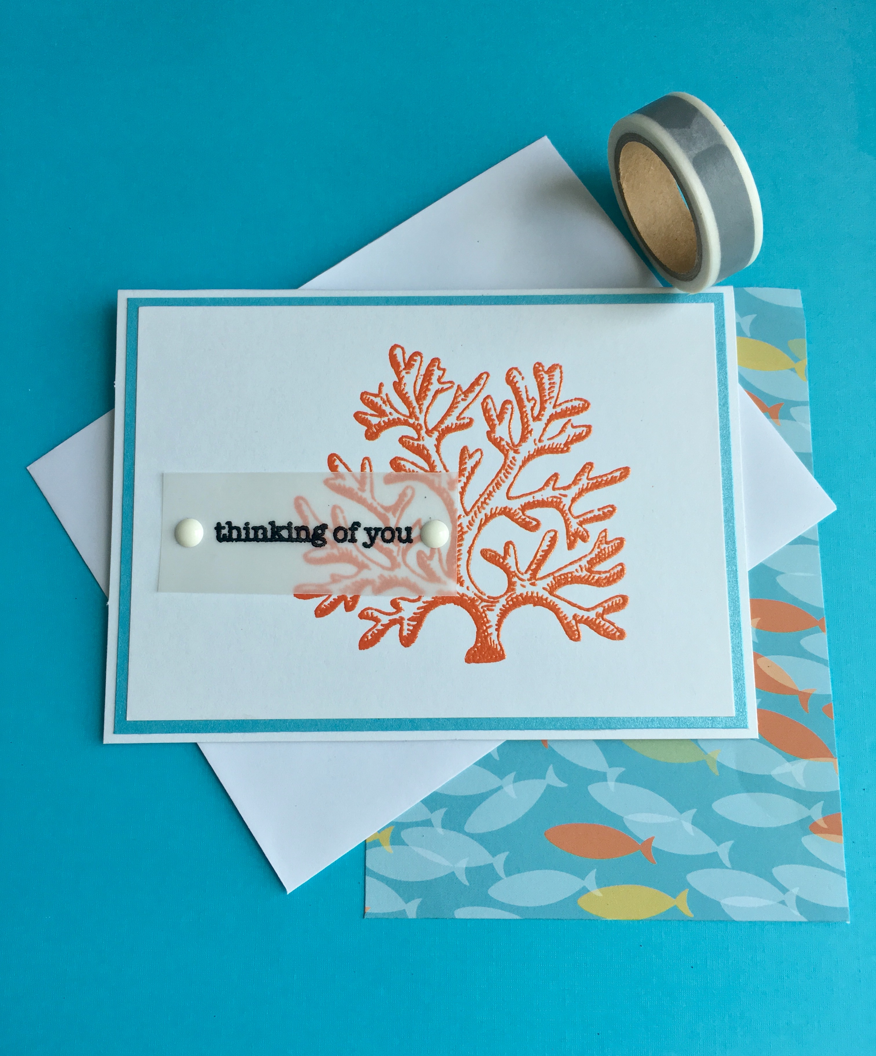 Hand-stamped and embossed card