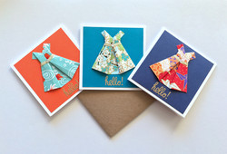 3x3 mini cards - Origami dresses