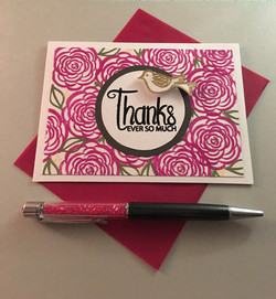 Hand-stamped floral Thank You card