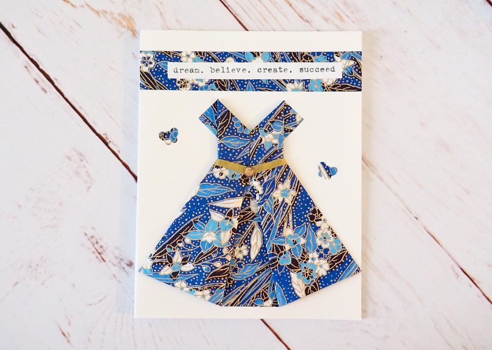 Blue - Origami dress greeting card