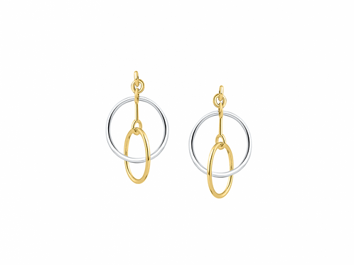 9ct two colour double hoop drop earrings