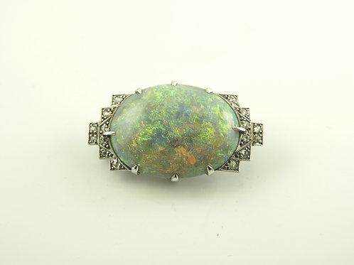 Black Opal and Diamond Brooch