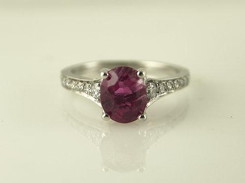 White gold rubalite and diamond ring