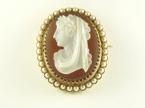 Gold Mounted Stone Cameo
