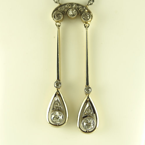 Gold and platinum two drop diamond necklace
