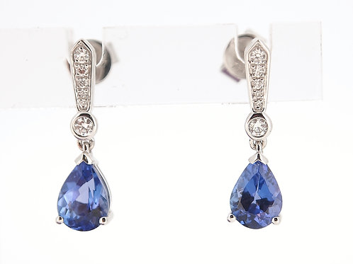 Tanzanite and diamond drop earrings.