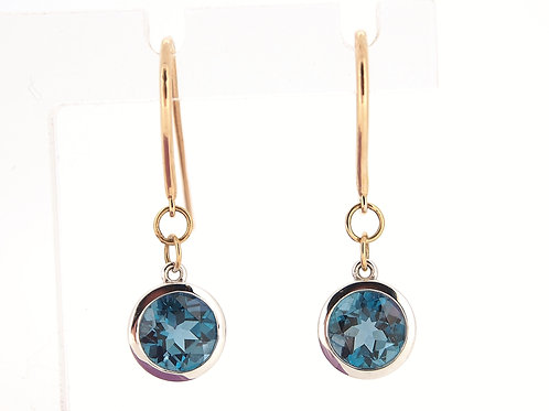 9ct two colour Blue Topaz drop earrings