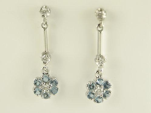 Diamond and auqamarine flowers drop earrings