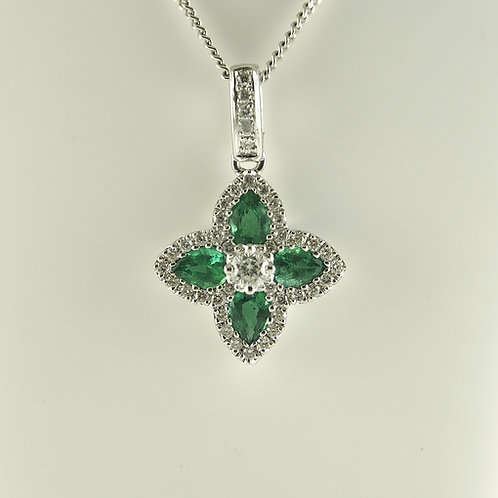 White gold emerald and diamond pendant necklace