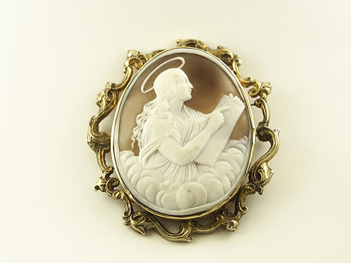 Gold Mounted Shell Cameo Brooch