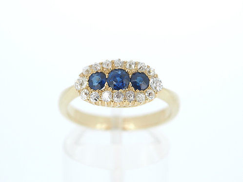 Victorian Sapphire and old cut diamond cluster ring
