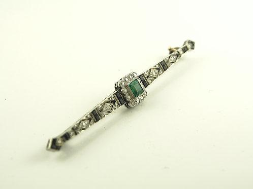 Emerald diamond and onyx bar brooch