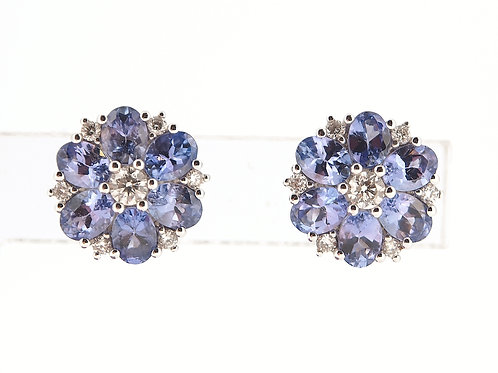Tanzanite and diamond floral stud earrings.