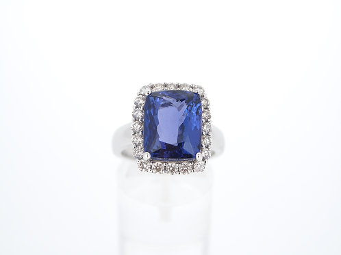 Tanzanite and Diamond cluster ring.