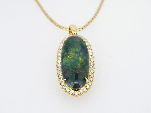 18ct Black Opal and Diamond Pendant