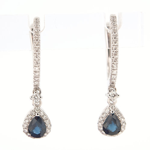 Sapphire and Diamond hoop drop earrings