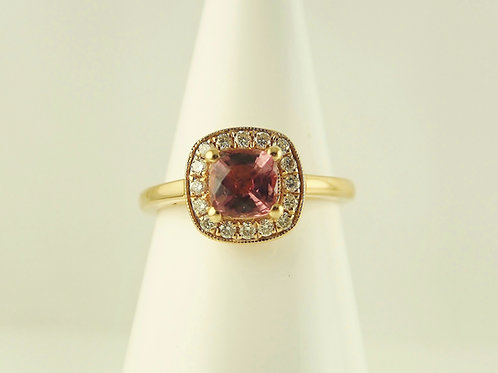 Rose gold tourmaline and diamond cluster ring