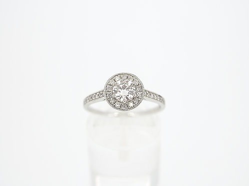 Platinum  Diamond halo ring.
