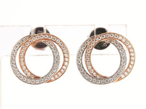 Diamond set Double circle earrings