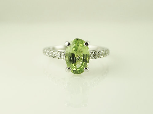 Tourmaline with diamond shoulders ring