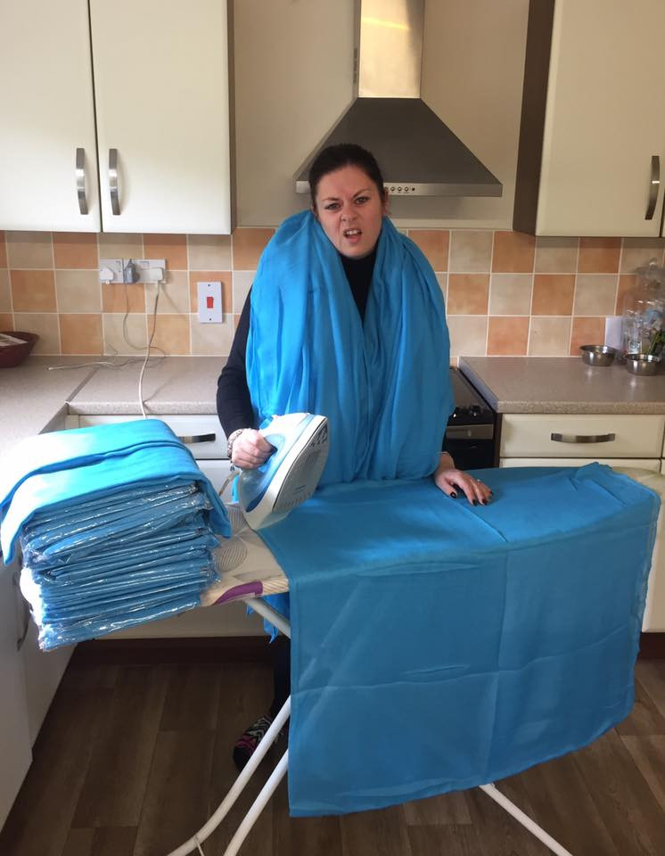North Coast Harmony, Mel Baber, scarves, turquoise, ironing