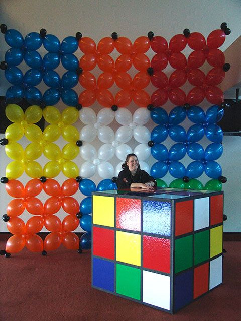 rubics cube balloon wall