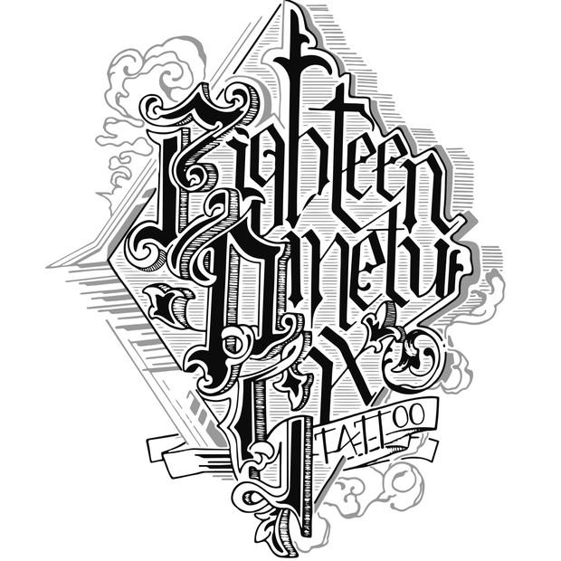 1896 Tattoo Calligraphy T-shirt Design