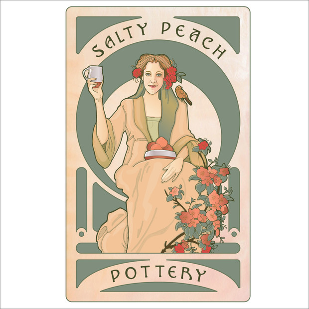Salty Peach Pottery Illustration Logo