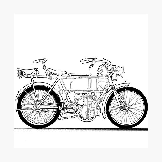Vintage Tandem Motor Bike