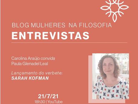 "Entrevista: Paula Glenadel sobre o verbete ""Sarah Kofman"""