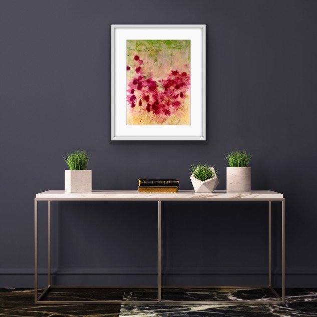 Poppies £145 A2 Original Painting Framed. Oil & Dye on Paper