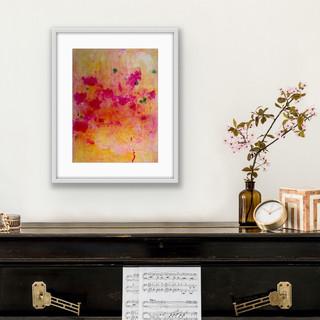 Bright Orange £145 A2 Original Painting Framed. Oil & Dye on Paper